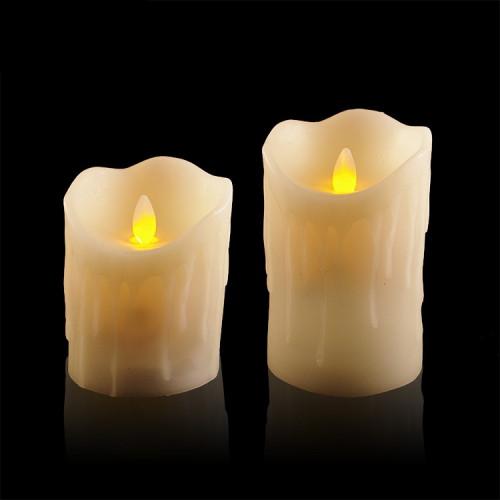 2 bougies 224 leds flamme vacillante avec coulures de cire