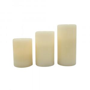 Set de 3 bougies led en cire creuses