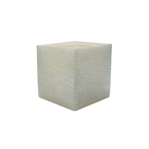 Bougie à led photophore en cire - Cube Argenté
