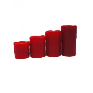 Lot de 4 bougies led en cire rouge télécommandées