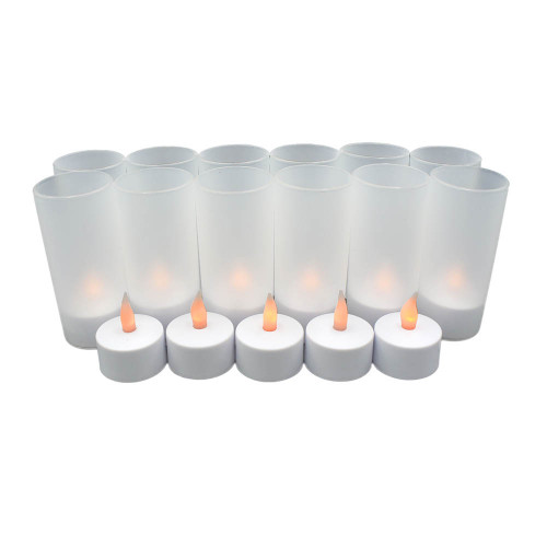 Lot de 12 bougies Led rechargeables + verrines