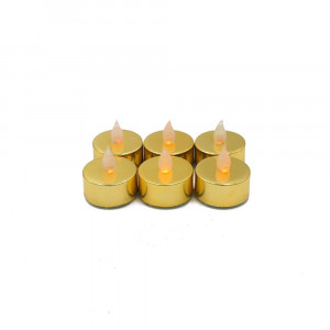 Lot de 6 bougies Led chauffe-plat brillantes or