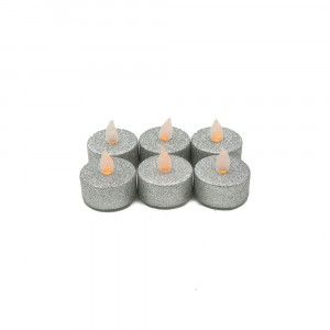 Lot de 6 bougies Led chauffe-plat paillette argent