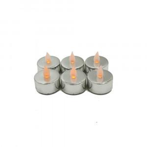 Lot de 6 bougies Led chauffe-plat brillantes argent