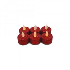 Lot de 6 bougies Led chauffe-plat paillette rouge