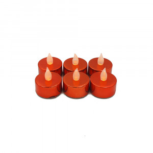 Lot de 6 bougies Led chauffe-plats brillantes rouges