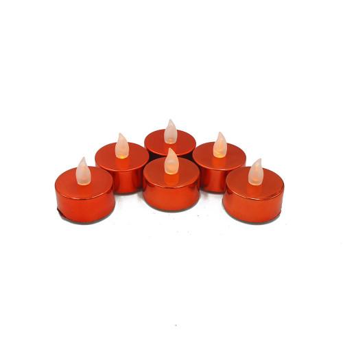 Lot de 6 bougies Led chauffe-plats brillantes rouges