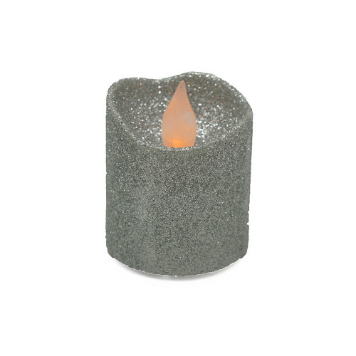 Lot de 4 bougies Led votives paillette argent