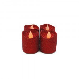 Lot de 4 bougies Led votives paillette rouge