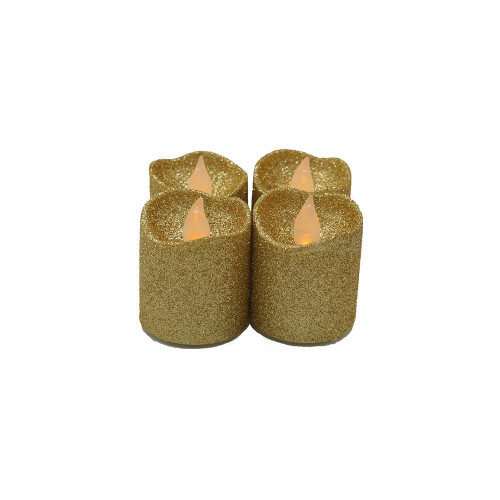 Lot de 4 bougies Led votives paillette or