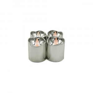 Lot de 4 bougies Led brillantes argent