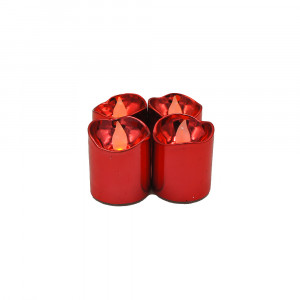 Lot de 4 bougies Led brillantes rouges