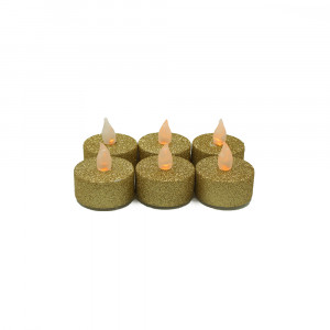 Lot de 6 bougies Led chauffe-plat paillette or