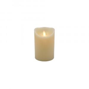 Bougie Led flamme vacillante cire ivoire 8x12.5cm