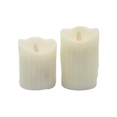 2 bougies à leds flamme vacillante - avec coulures de cire