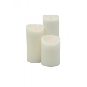 Pack 3 bougies BLANCHES à led flamme vacillante en cire