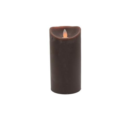Bougie chocolat en cire à led flamme vacillante, hauteur 18 cm