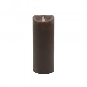 Bougie chocolat en cire à led flamme vacillante, hauteur 23 cm