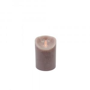 Bougie brun châtaigne en cire à led flamme vacillante, hauteur 12.5cm