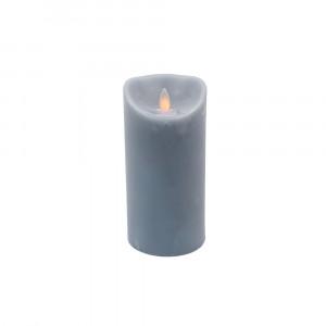 Bougie gris ardoise en cire à led flamme vacillante, hauteur 18cm