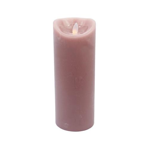 Bougie vieux rose en cire à led flamme vacillante, hauteur 23cm