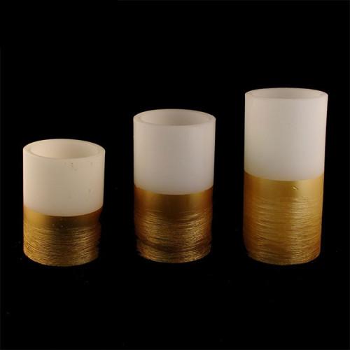 Bougies photophores led en cire - contour doré