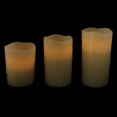 Pack de 3 bougies led avec cire coulante
