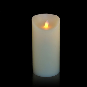 Bougie ivoire en cire à led flamme vacillante, hauteur 18 cm