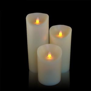 Pack 3 bougies ivoires à led flamme vacillante en cire