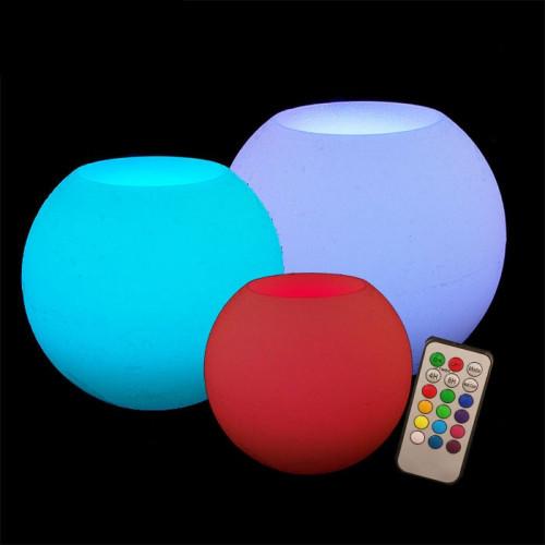 Pack 3 Bougie led en cire sphère ouverte multicolore