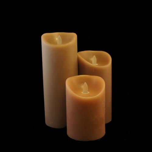 Pack 3 bougies grège à led flamme vacillante en cire