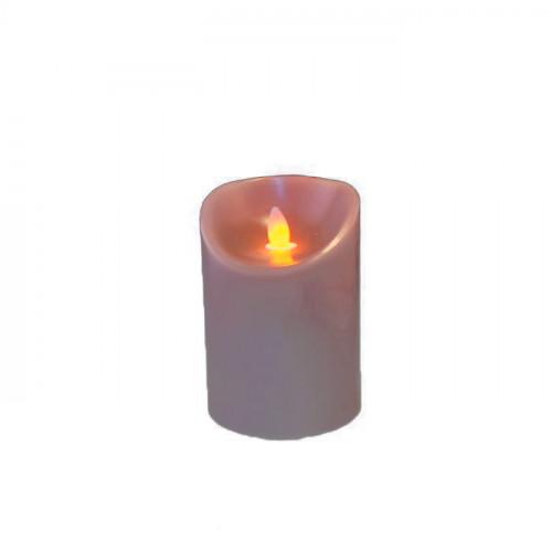 Bougie taupe en cire à led flamme vacillante, hauteur 12,5 cm