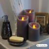 Bougie taupe en cire à led flamme vacillante, hauteur 23 cm