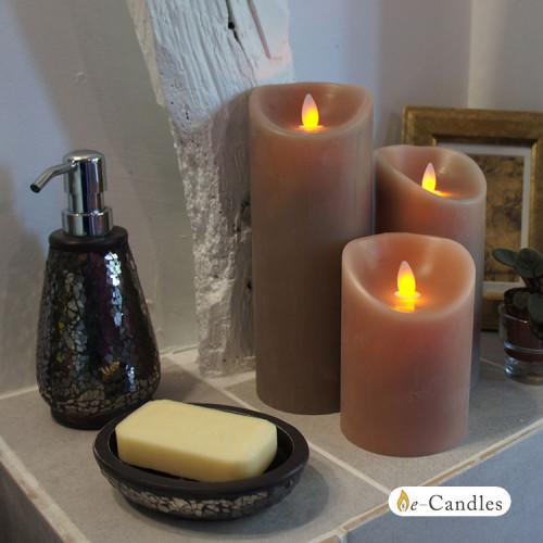 Bougie grège en cire à led flamme vacillante, hauteur 12,5 cm