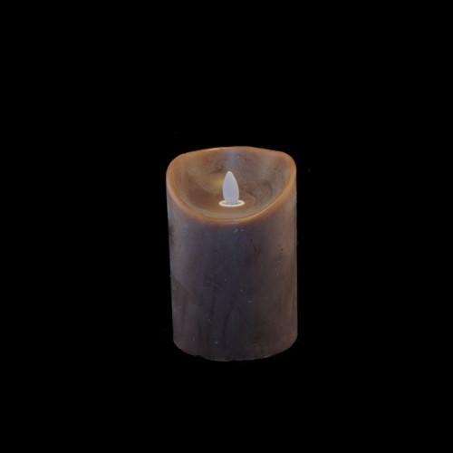 Bougie chocolat en cire à led flamme vacillante, hauteur 12,5 cm