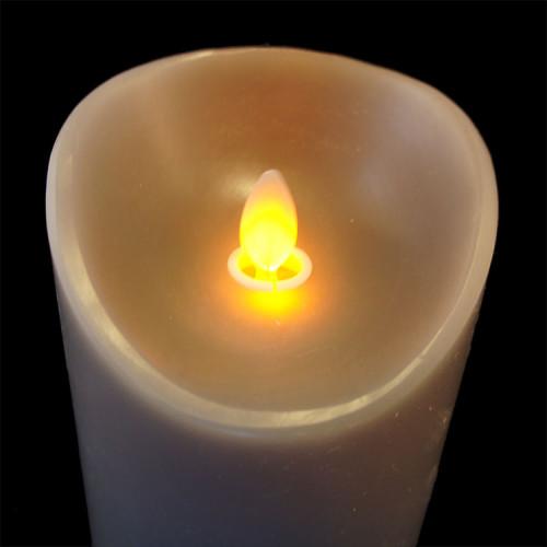 Bougie grège en cire à led flamme vacillante, hauteur 18 cm
