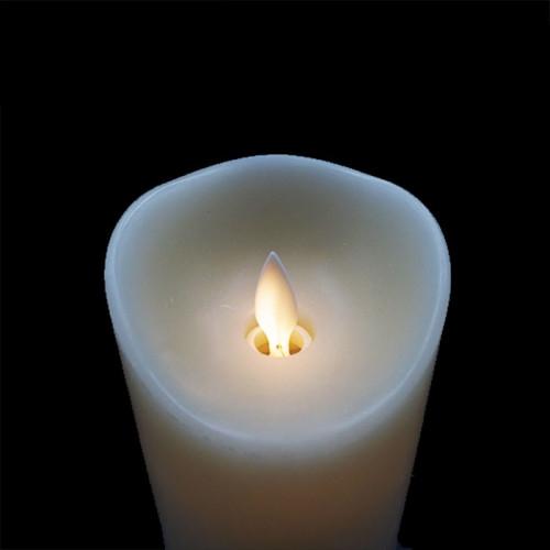 Bougie Led flamme vacillante cire ivoire 8x10cm