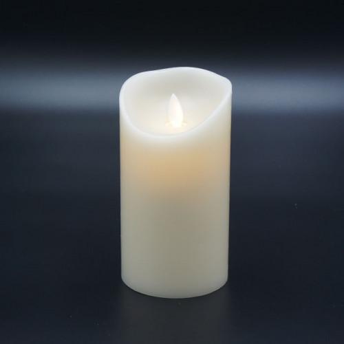 Bougie Led flamme vacillante cire ivoire 8x15cm