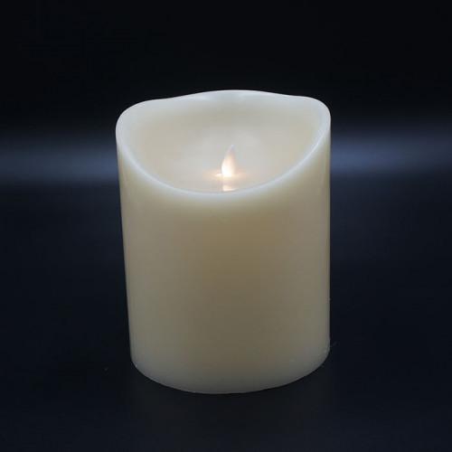 Grosse bougie Led flamme vacillante cire ivoire 15x18cm